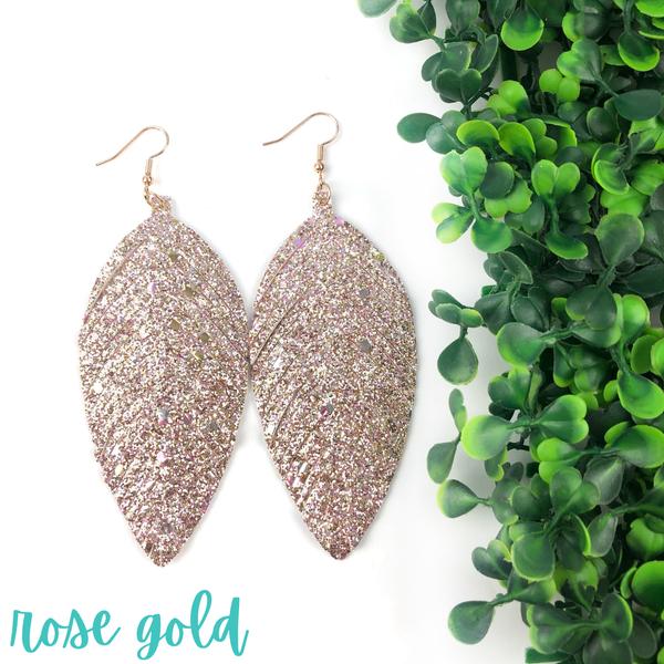 Glitter Leather Earrings *Final Sale* - Rose Gold