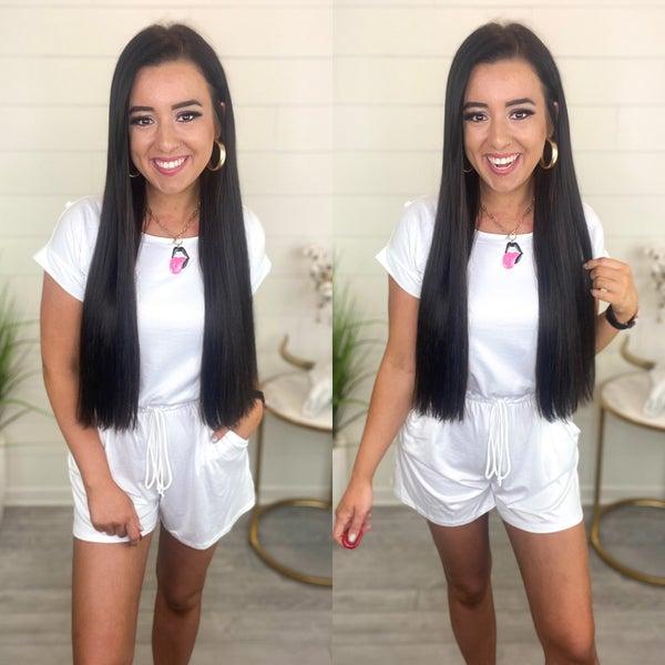 Barbie Girl Shortsleeve Romper *Final Sale* - Off White