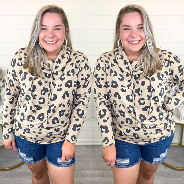 Cowl Neck Cheetah Pullover Top - Taupe