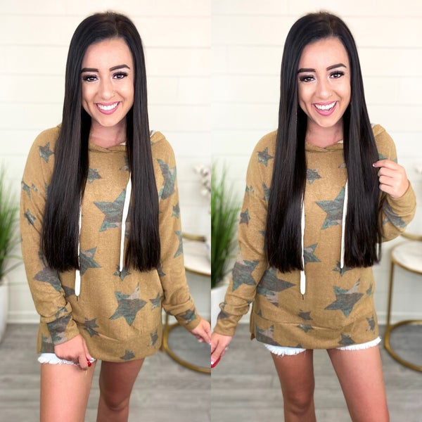 Camo Stars Hoodie Pullover Top
