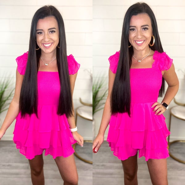 A Look At You Smocked Romper - Neon Pink