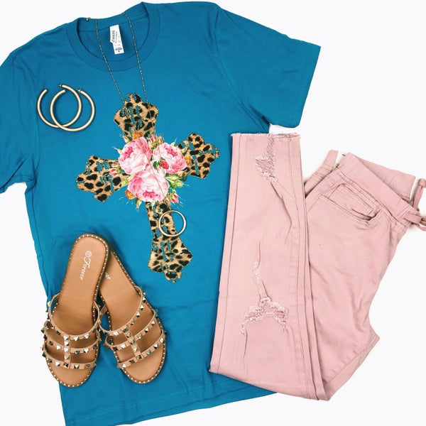 Cheetah + Flower Cross T-Shirt