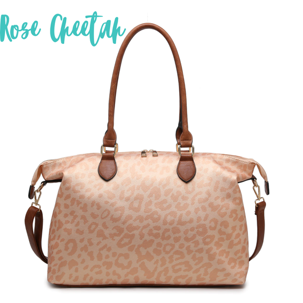 The Weekender Duffle Bag *Final Sale* - Rose Cheetah