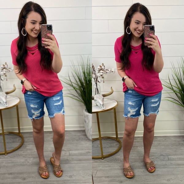 Live a Little Distressed Jeans Shorts-FINAL SALE