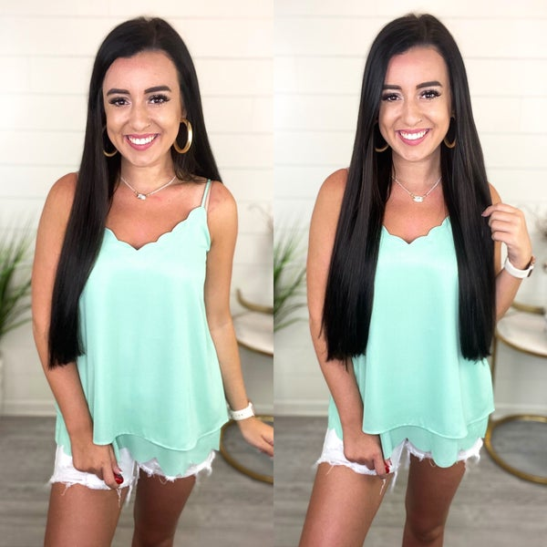 Matter of Time Scalloped Tank Top *Final Sale*