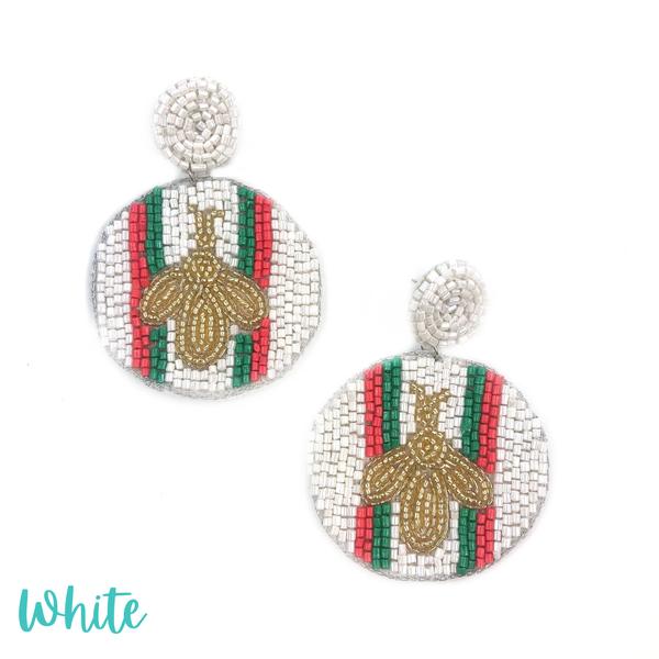 Bee + Stripe Seed Bead Earrings *Final Sale* - White