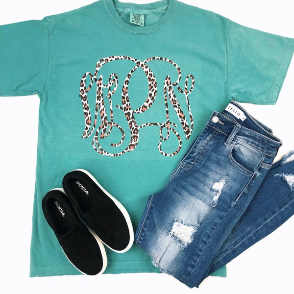 Cheetah Monogram Seafoam Comfort Colors Shortsleeve Tshirt *Final Sale*
