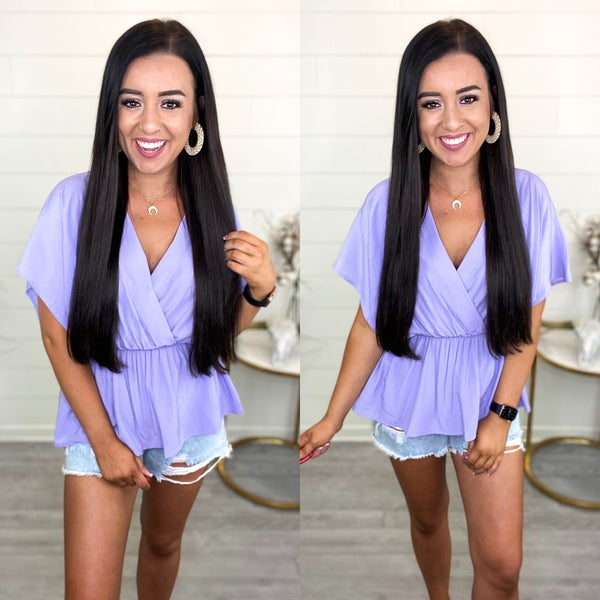 Typical Day Peplum Top - Lavender