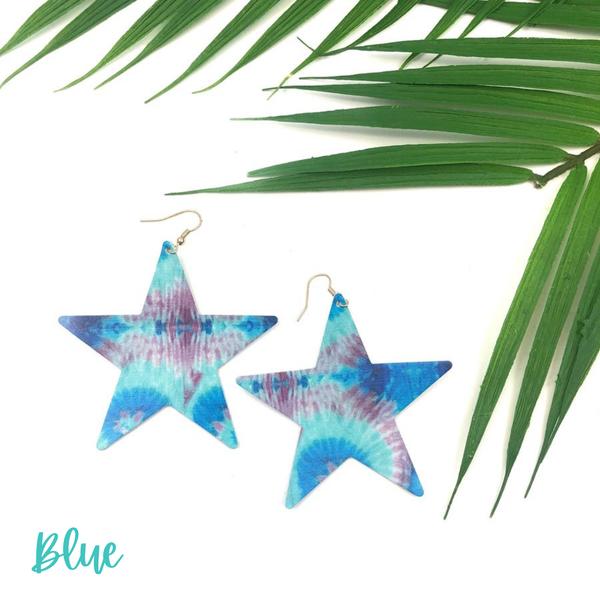 Tie-Dye Star Earrings *Final Sale* - Blue