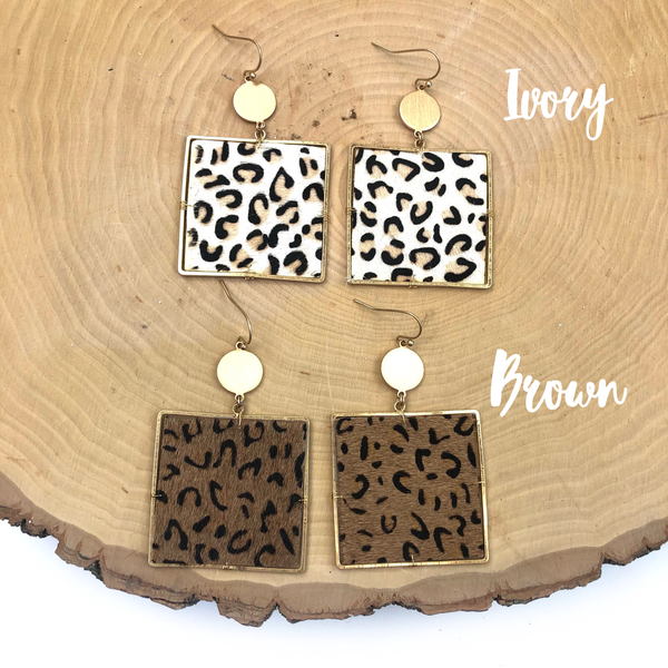 Square Animal Print Earrings *Final Sale*