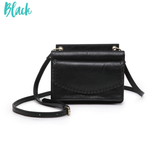 Evelyn Crossbody/Wallet with Whipstitch *Final Sale* - Black