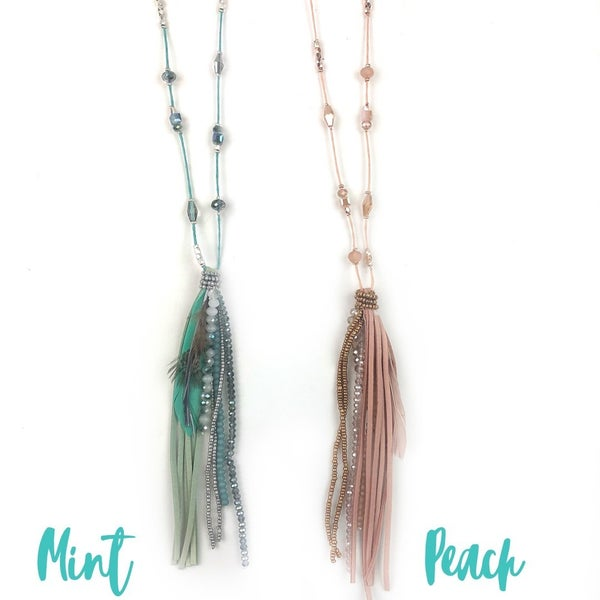 Suede + Bead Tassel Necklace *Final Sale*