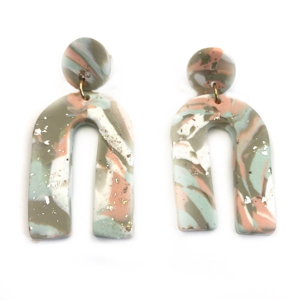 Marbled Clay Arch Earrings *Final Sale*