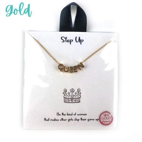 Block Letter Queen Necklace *Final Sale* - Gold