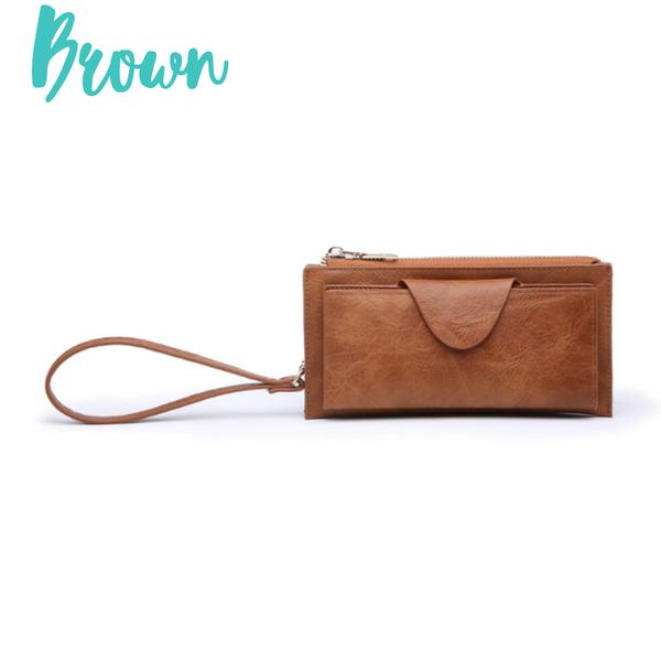 Kyla RFID Wallet with Snap Closure *Final Sale* - Brown