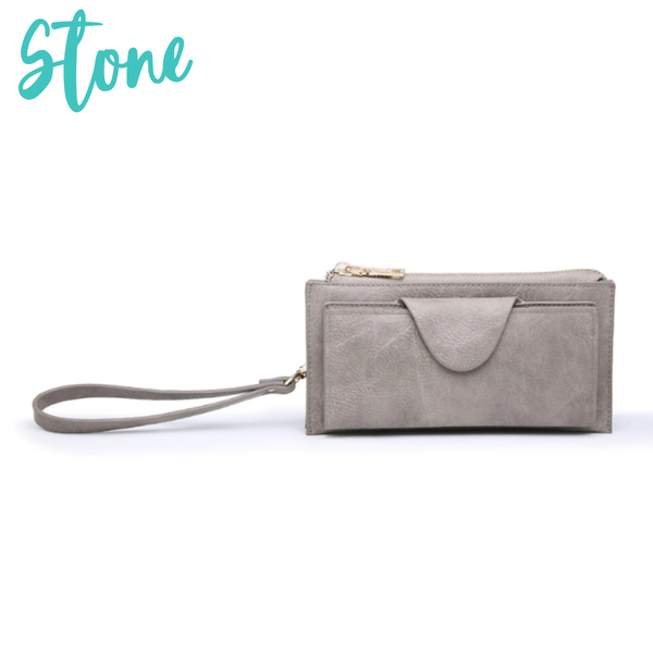 Kyla RFID Wallet with Snap Closure *Final Sale* - Stone