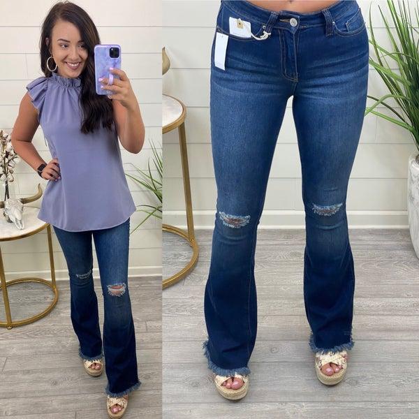 Frayed Mini Bell Bottom Jeans