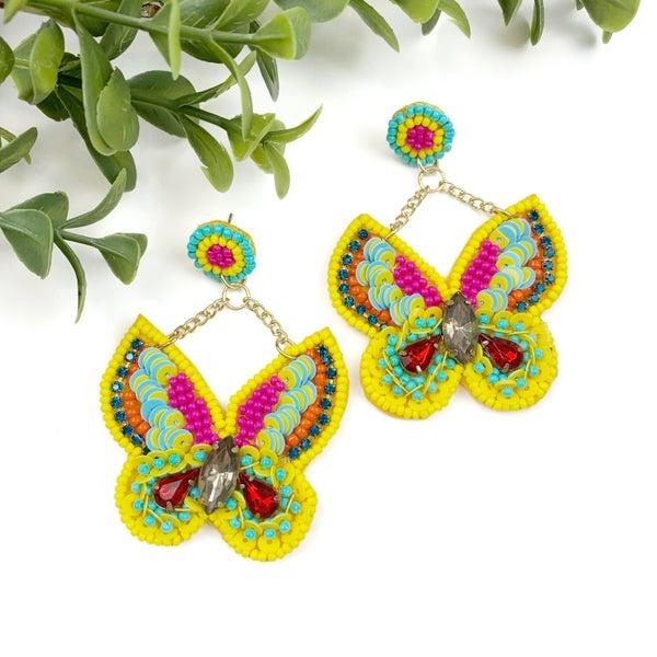 Beaded Butterfly Earrings-FINAL SALE