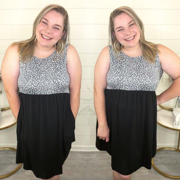 Cheetah + Solid Bottom Dress