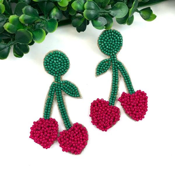 Beaded Cherry Earrings-FINAL SALE
