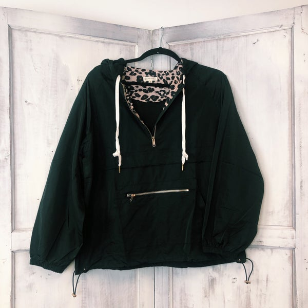 Crazy About It Pullover Rain Jacket - Black