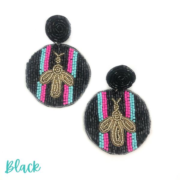 Bee + Stripe Seed Bead Earrings *Final Sale* - Black