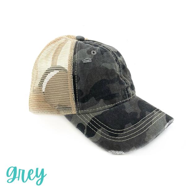 Distressed Camo Trucker Hat *Final Sale* - Grey