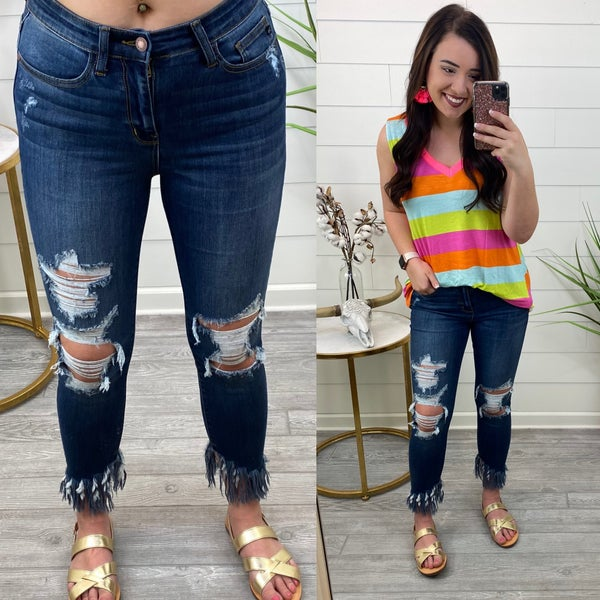 Good Intentions Ankle Fringe Skinny Jeans