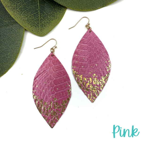 Gold Dipped Feather Earrings *Final Sale* - Pink