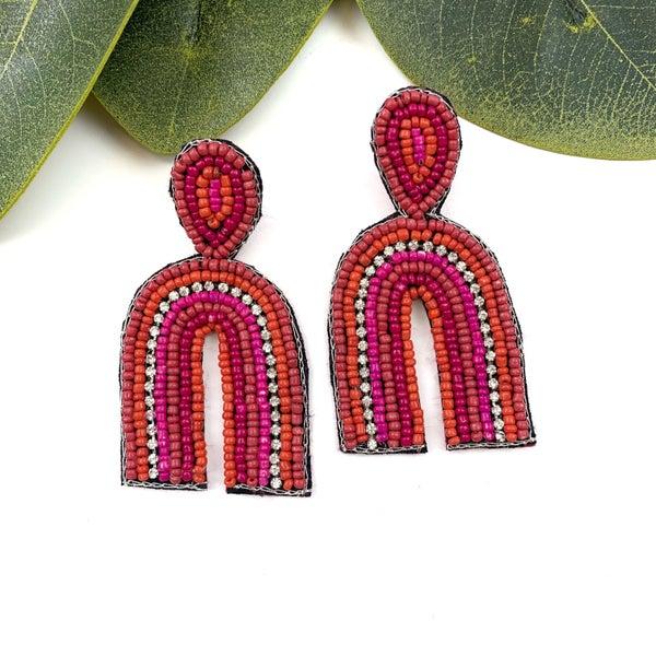 Beaded Arch Earrings *Final Sale* - Red