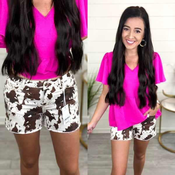 Lets Get Rowdy Cow Print Judy Blue Shorts