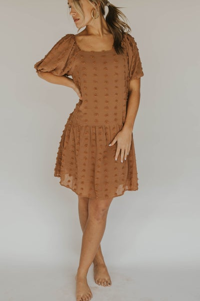 Swiss Dot Square Neck Puff Sleeve Dress
