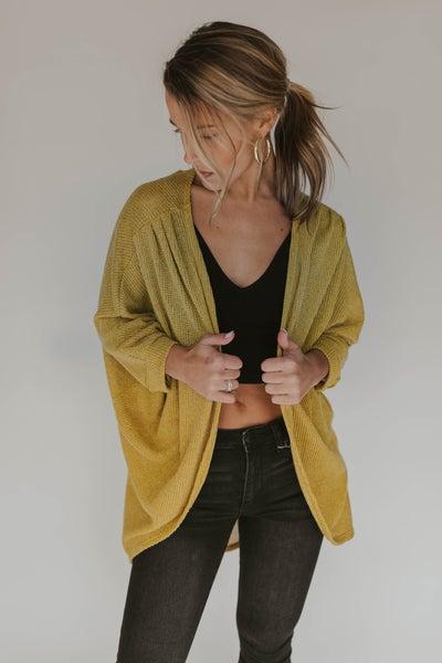 Knit Dolman Sleeve Open Front Cardigan