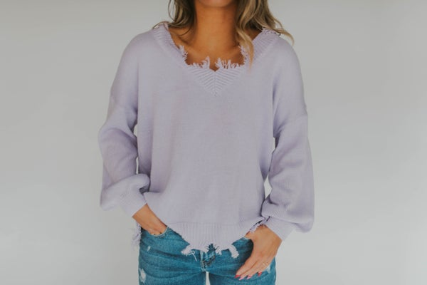 Distressed Loose Fit Sweater Top