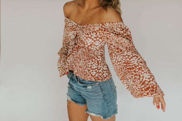 Woven Viscose Front Tie Long Sleeve Top