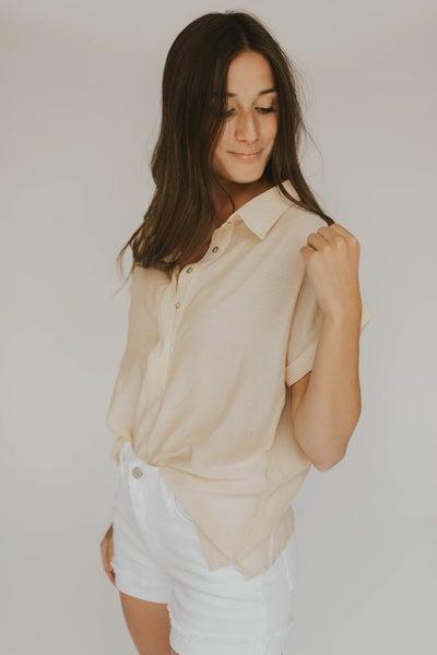 Short Sleeve Stripe Blouse