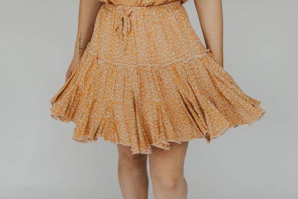 Woven Gauze Elastic Waist Skirt