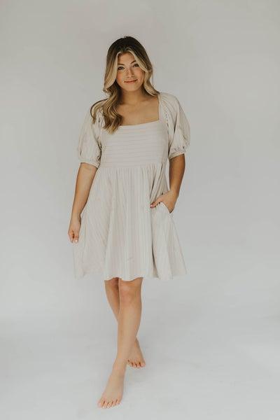 Knit Cotton Rib Short Sleeve Dress