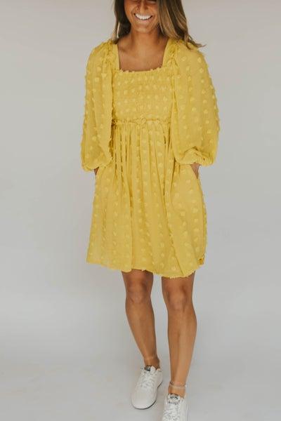 Chiffon Smocking Long Sleeve Dress