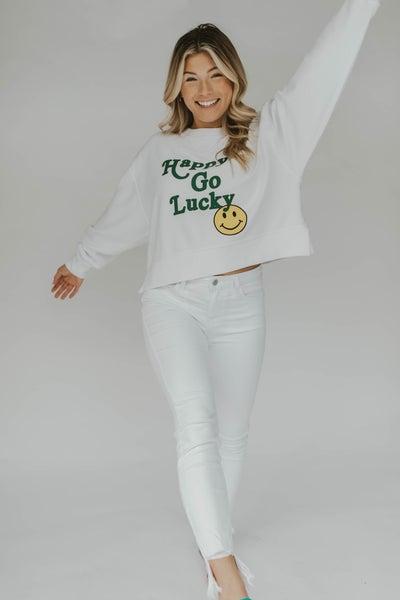 Happy Go Lucky Cropped Corded Sweatshirt