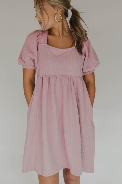 Square  Neck Knit Puff Sleeve Dress
