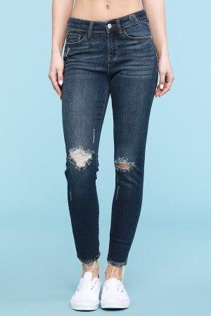 The Stephanie Midrise Slim Fit Judy Blue Jeans in Dark Denim
