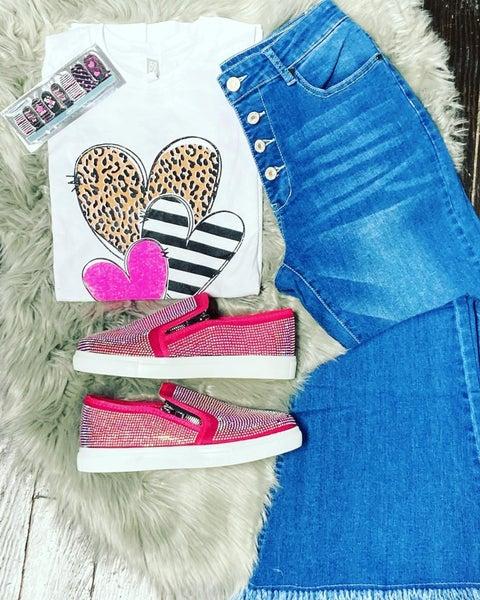 Wild Love Leopard Heart White Graphic Tee - Sizes 4-18