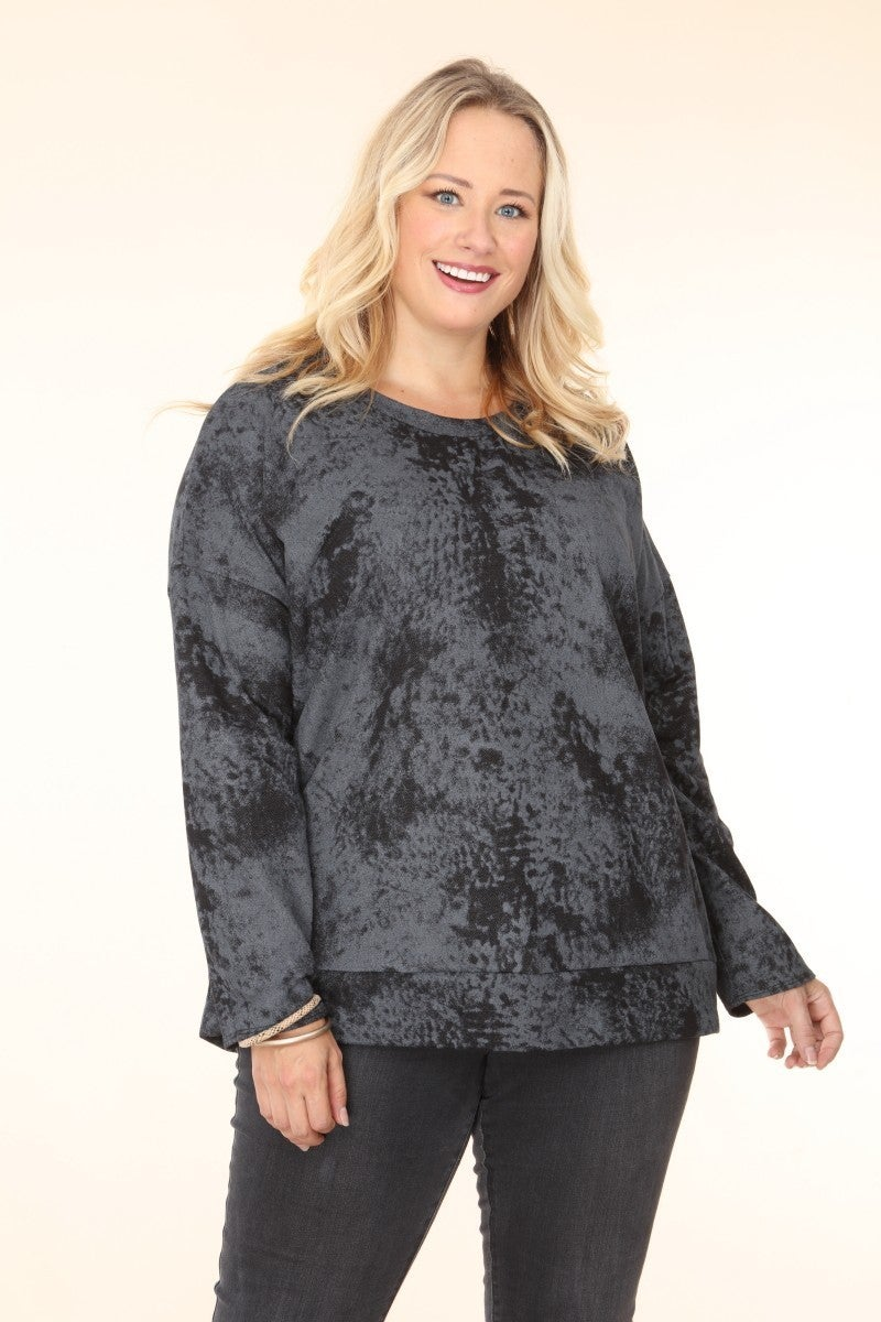 Hold On Tight Black and Gray Tie Dye Long Sleeve Top - Sizes 12-20