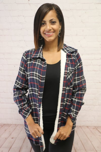 Country Bumpkin Faux Fur Lined Button Down Flannel in Multiple Colors - Sizes 4-20