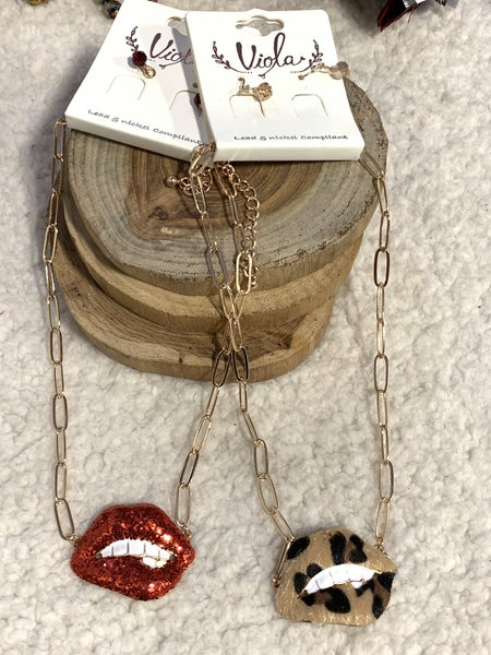 Did I Say That Lips And Teeth Pendant Necklace In Multiple Colors