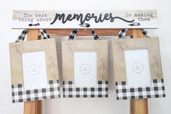 Memories Black And White Buffalo Plaid 3 Set Hanging 4 X 6 Frames