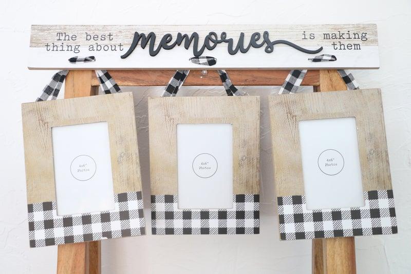 Memories Black And White Buffalo Plaid 3 Set Hanging 4 X 6 Frames