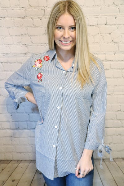 You're Wanted Floral Embroidered Navy Striped Quarter Sleeve Top with Sleeve-Sizes 4- 18