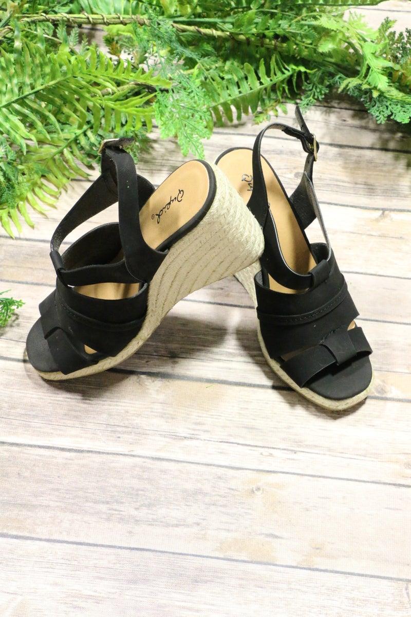 The Jolee Peep Toe Ankle Strap Wedge Sandal In Black - Sizes 6-10